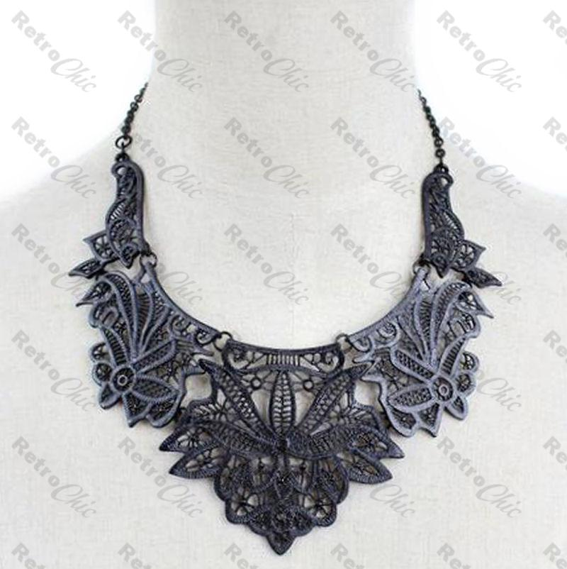 Vintage Copper Filigree Collar Bib statement Necklace