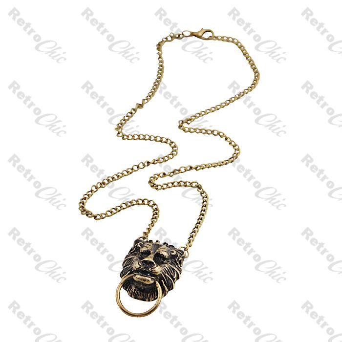 Lion Head Door Knocker Necklace  sc 1 st  eBay & LION HEAD DOOR KNOCKER vintage brass NECKLACE chain doorknocker ...