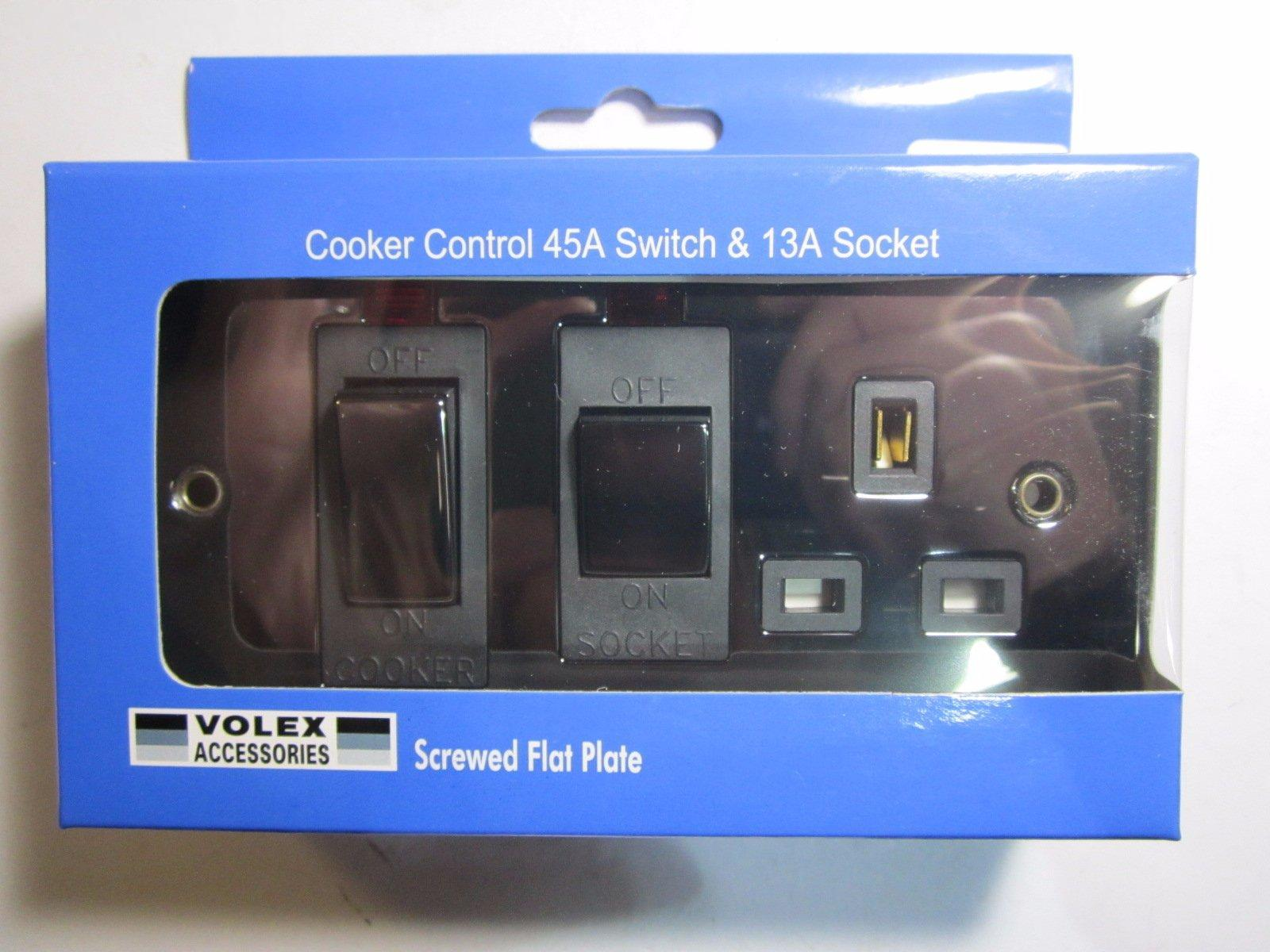 Volex Cooker Control 45a Switch 13a Socket With Neon Black Interior Wiring Regulations This Brand New Product Is Exactly As Shown In The Photos Below