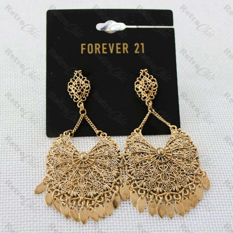 fae588d6036f Large filigree effect oversized drop earrings with great detail. Gold  Plated.