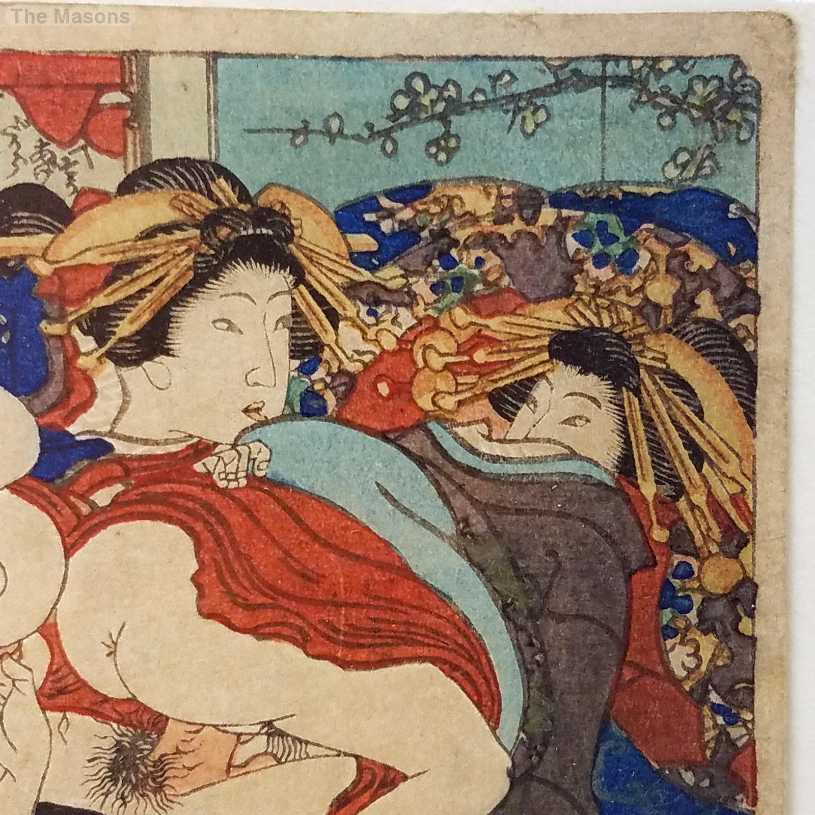 Small A Frame House Antique Signed Japanese Shunga Ukiyo E Woodblock Print 1