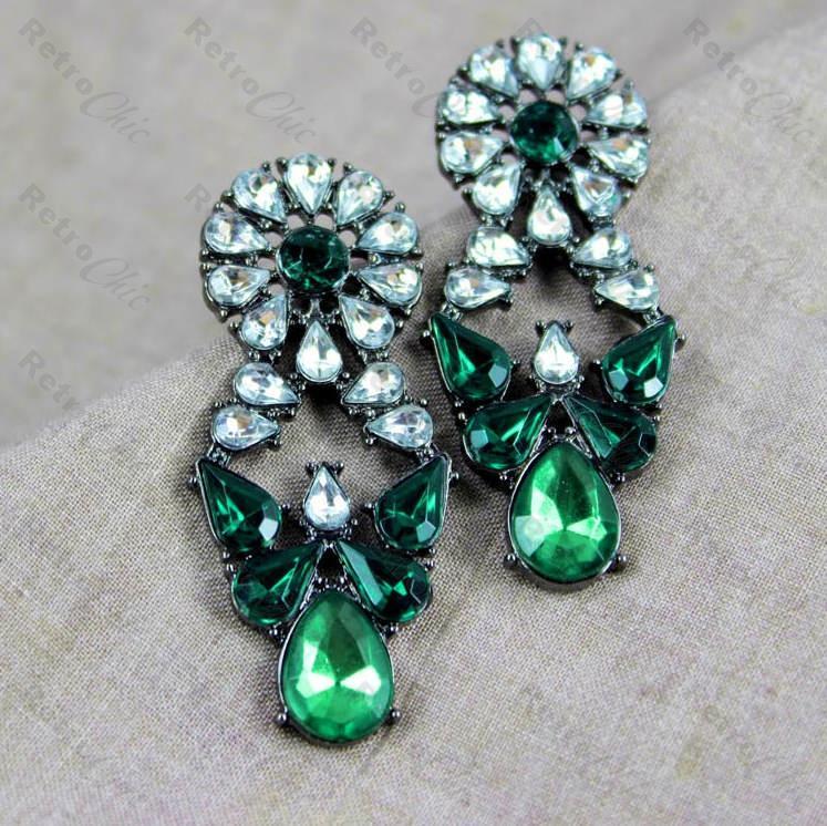 Black Rhinestone Earrings Antique Style