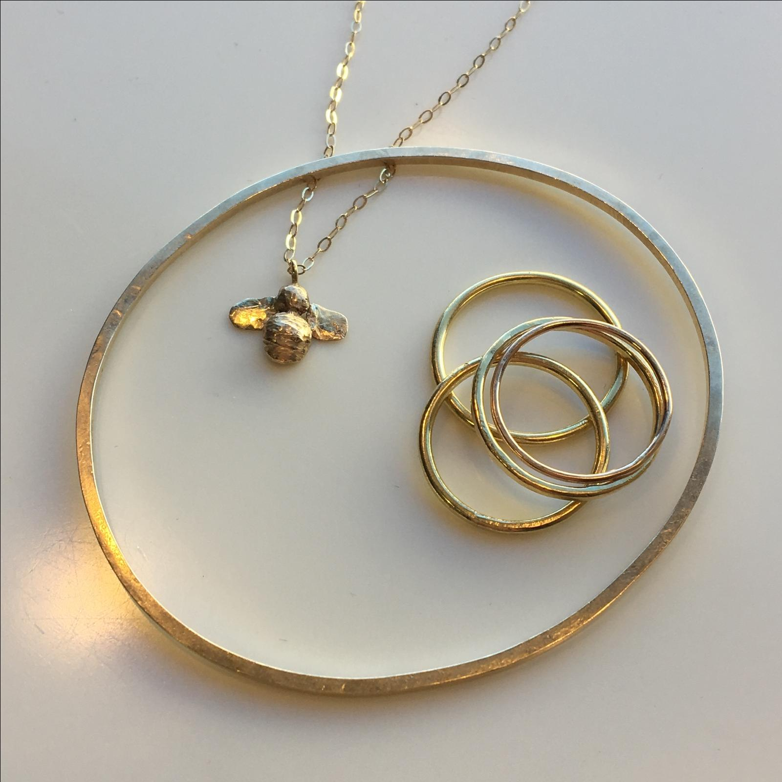 Solid 9ct Gold Hand Made Bee Necklace Unique One Off Jewellery London Designer Ebay