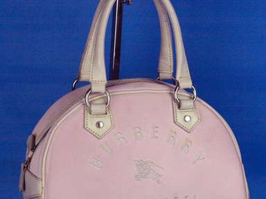 100% Auth Burberry London Blue Label Logo Hand Bag Pink Nylon Canvas ... 9ed079cad66e9