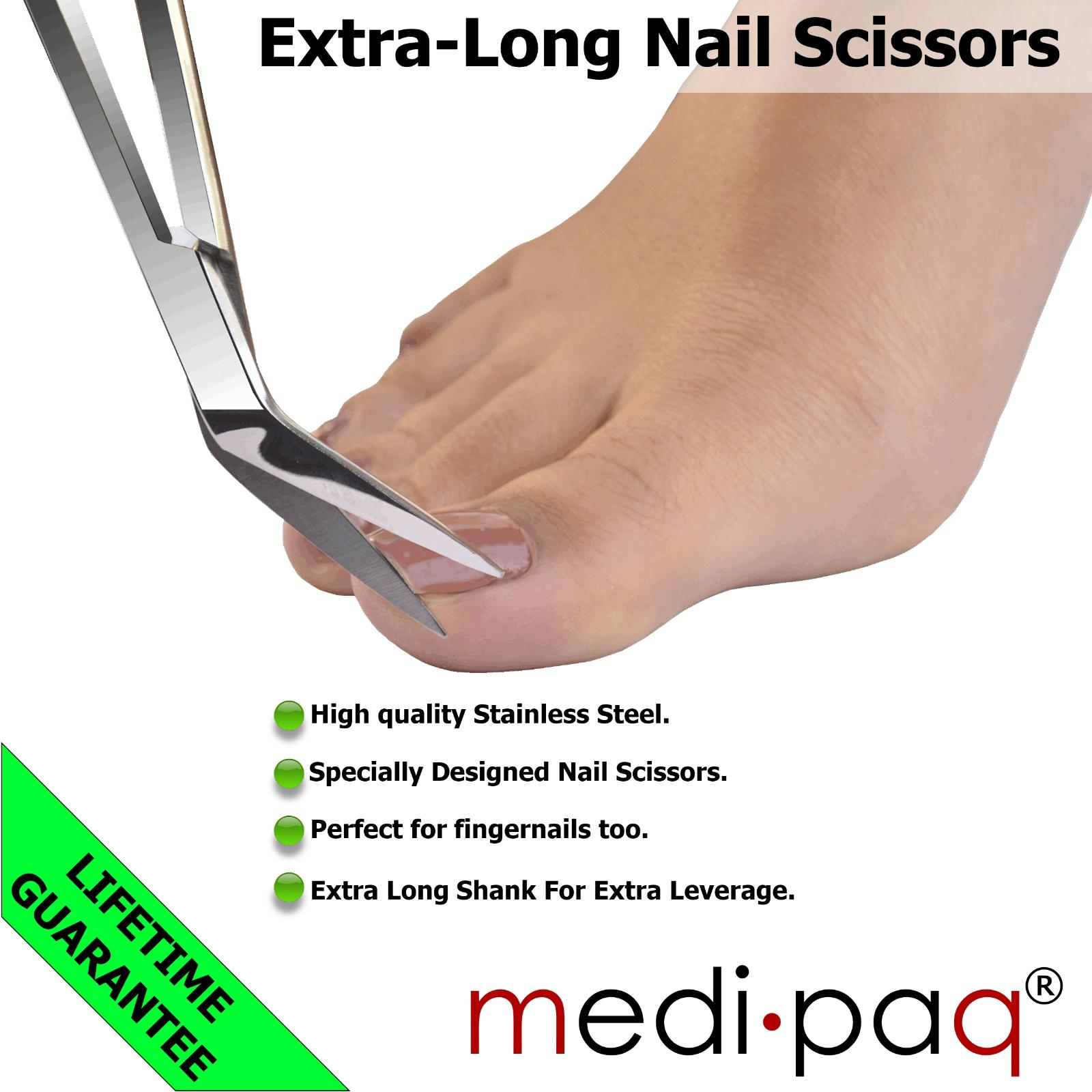 TOE NAIL Scissors + Nail File - EXTRA LONG Handle Pedicure Manicure ...