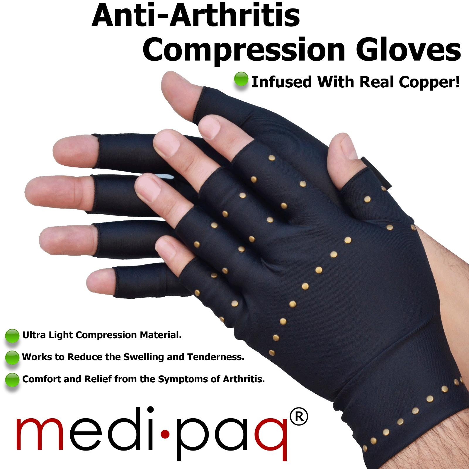Details About Medipaq Anti Arthritis Copper Compression Gloves Hand Therapy Rheumatoid Pain
